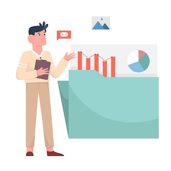 Biznesmen trzymaj notatkę i udostępniaj dane