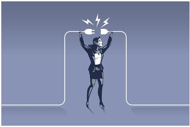 Biznesmen trzymając wtyczki, próbując podłączyć przewody. biznesowa ilustracja koncepcja odpowiedniego człowieka we właściwym miejscu