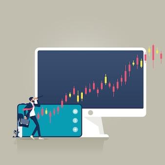 Biznesmen trzymający lornetkę patrzący na handlarza wykresami finansowymi sukces wizji biznesowej
