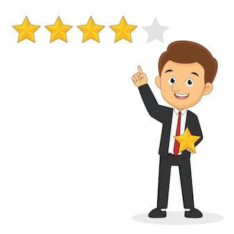 Biznesmen trzymający w ręku złotą gwiazdę