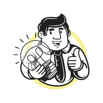 Biznesmen trzymający żarówkę i robiący kciuk w górę