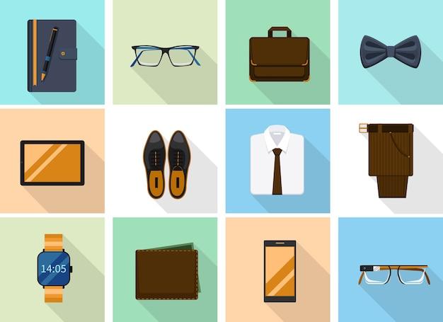 Biznesmen ubrania i gadżety w stylu płaski. modne buty, notatnik i portfel, smartfon i inteligentne okulary.