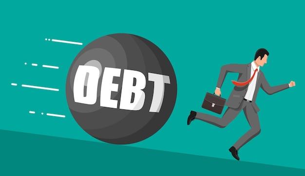Biznesmen ucieka od dużej wagi zadłużenia. biznesmen z teczką i niszczącą piłkę. podatki, dług, opłaty, kryzys i upadłość. ilustracja wektorowa w stylu płaski