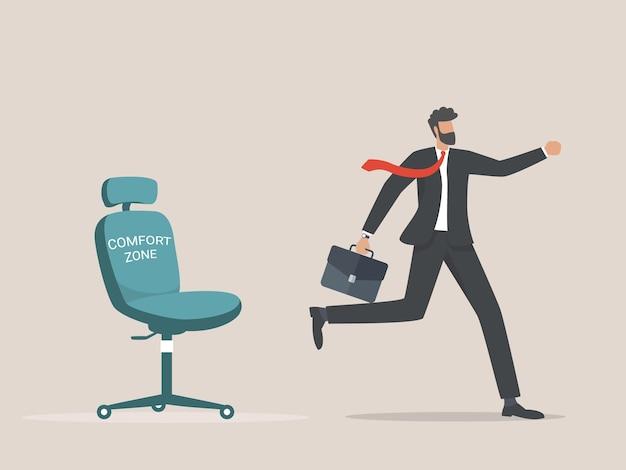 Biznesmen ucieka ze strefy komfortu do sukcesu