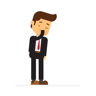 Biznesmen uczucie stresu, wstydu i o ból głowy