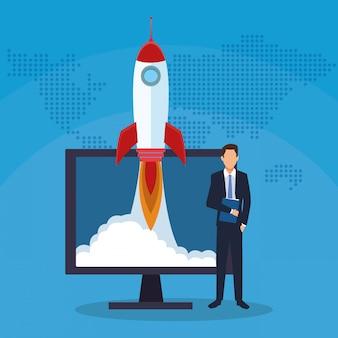 Biznesmen uruchamia rakietowego sukces zaczyna biznes