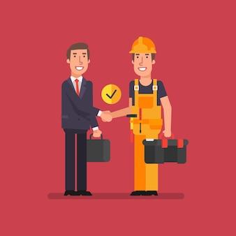 Biznesmen uścisk dłoni i budowniczy uśmiech i trzyma walizki. ilustracja wektorowa. ludzie biznesu.