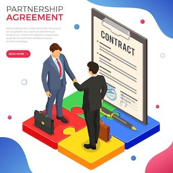 Biznesmen uścisk dłoni po wynegocjowaniu udanej transakcji. partnerstwo dla startupów w celu osiągnięcia celów. praca w zespole. puzzle