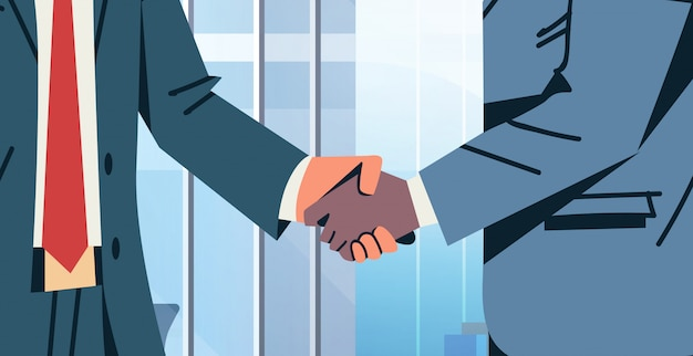 Biznesmen uścisk dłoni umowa umowa transparent