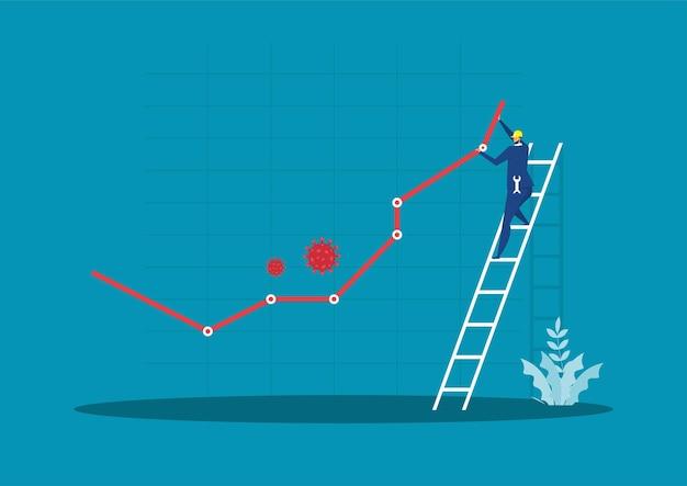 Biznesmen ustalający malejący wykres finansowy z koncepcją klucza narzędziowego z kryzysu koronawirusa