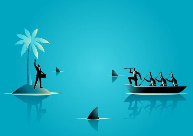 Biznesmen utknąć na wyspie z wodą pełną rekinów