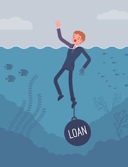 Biznesmen utonięcia przykuty łańcuchem pożyczki
