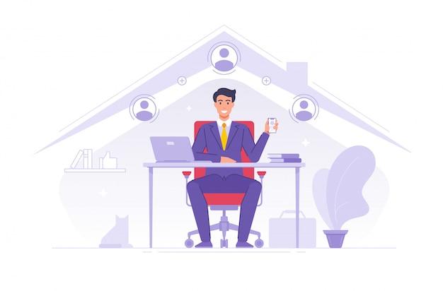 Biznesmen używa app dla zdalnej pracy pracy w domu