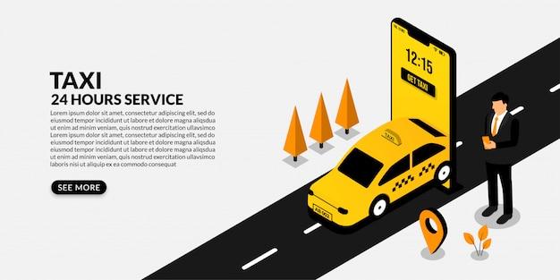 Biznesmen używa mobilnego rezerwaci taxi, isometric online taxi usługa pojęcie