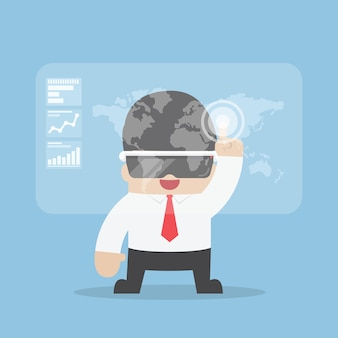 Biznesmen używa rzeczywistości wirtualnej słuchawki lub vr szkła