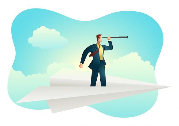 Biznesmen używa teleskop na papierowym samolocie
