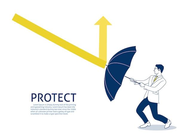Biznesmen używać parasola do ochrony strzałki w dół.