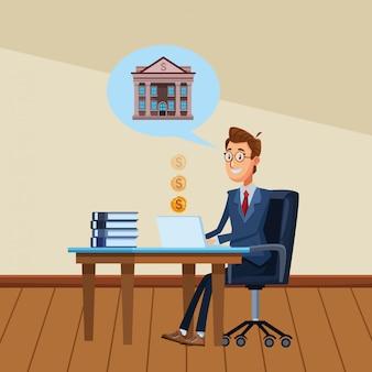 Biznesmen w biurku