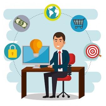 Biznesmen w biurze z ikonami marketingu e-mail