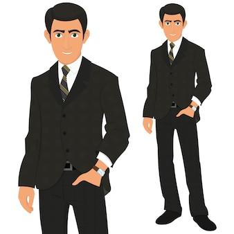 Biznesmen w eleganckim garniturze.