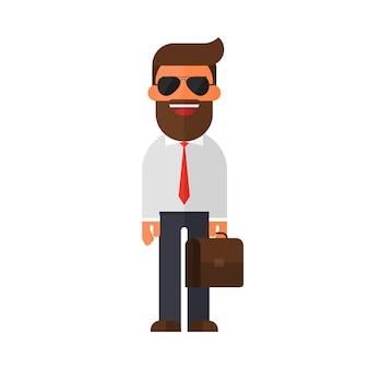 Biznesmen w garniturze i okulary przeciwsłoneczne