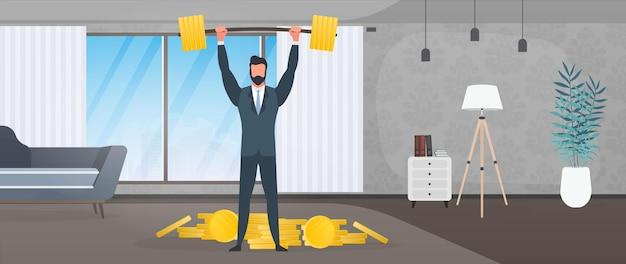 Biznesmen w garniturze podnosi sztangę. mężczyzna w biurze podnosi sztangę. udany pomysł na biznes. wektor.