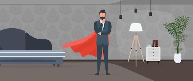 Biznesmen w garniturze z czerwonym płaszczem przeciwdeszczowym. przedsiębiorca superbohatera. pomyślna koncepcja osoby. wektor.