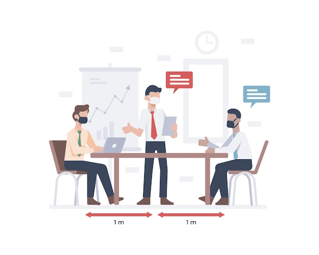 Biznesmen w masce na twarz i spotkanie z pracownikiem lub pracownikiem oraz praktykowanie ilustracji dystansowania społecznego