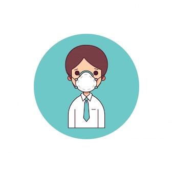 Biznesmen w ochronnej masce nad natura zanieczyszczeniem powietrza
