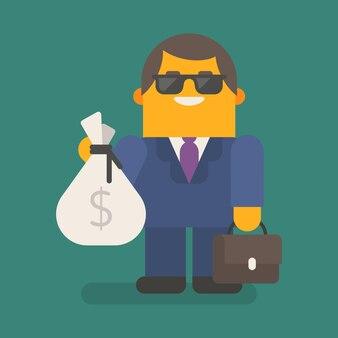 Biznesmen w okulary posiada worek pieniędzy i walizkę. wektor znaków. ilustracja wektorowa