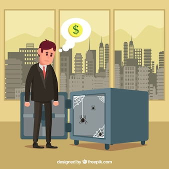 Biznesmen w pakiecie office z pustym sejf