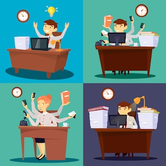 Biznesmen w pracy. bizneswoman w biurze. pracownik wielozadaniowy. życie biurowe. ilustracji wektorowych