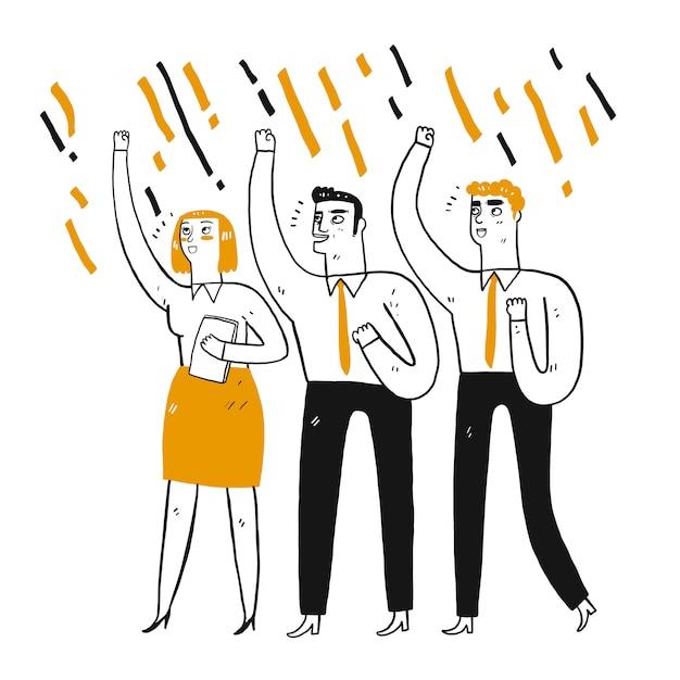 Biznesmen w pracy zespołowej, zaciśnięte pięści w powietrzu