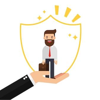 Biznesmen w ręce trzyma klienta