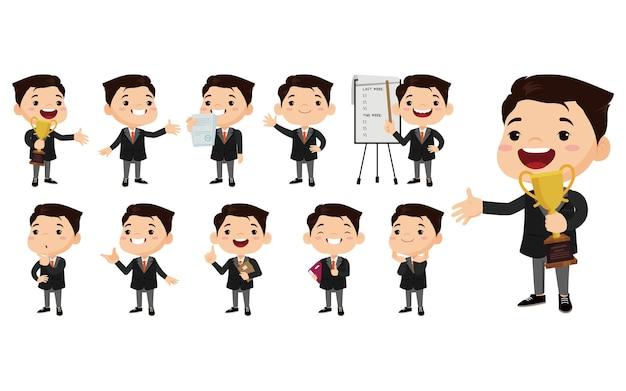 Biznesmen w różnych pozycjach ustawionych