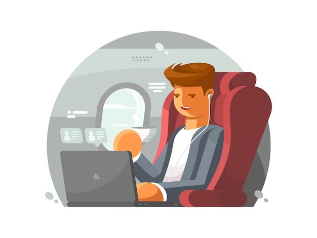 Biznesmen w samolocie. mężczyzna w pierwszej klasie z laptopem. ilustracja