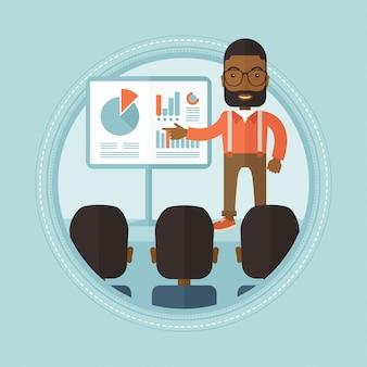 Biznesmen w seminarium biznesowym