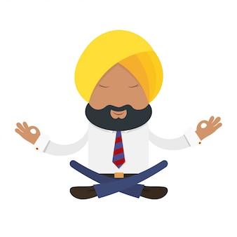 Biznesmen w żółtym turbanie. indyjski biznesmen w krajowym żółtym turbanie w pozycji lotosu. joga finansowa, medytacja
