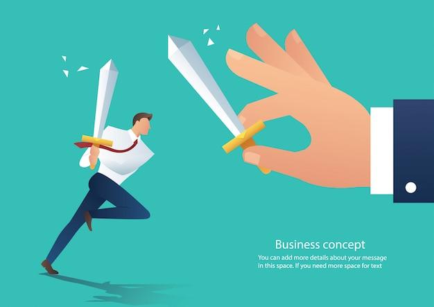 Biznesmen walczyć z szefem w pracy wektor