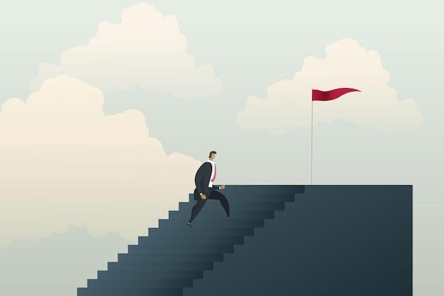 Biznesmen wchodzi po schodach, aby wyznaczać cele i osiągać sukcesy w biznesie