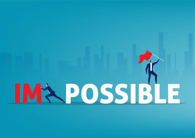 Biznesmen wcisnąć duże niemożliwe słowo i zmienić możliwe do sukcesu
