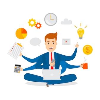 Biznesmen wielozadaniowy. skuteczny i odnoszący sukcesy pracownik biurowy. szczęśliwy utalentowany człowiek zajęty robieniem wielu rzeczy naraz. odosobniony