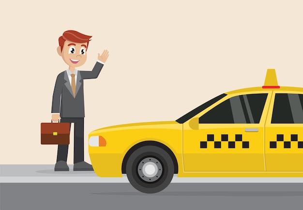 Biznesmen wita taksówkę.
