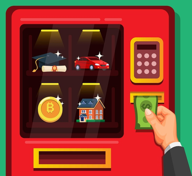Biznesmen wkłada pieniądze, aby kupić aktywa w automacie na ilustracji kreskówka