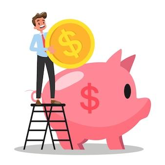 Biznesmen wkłada pieniądze do skarbonki. budżetowy