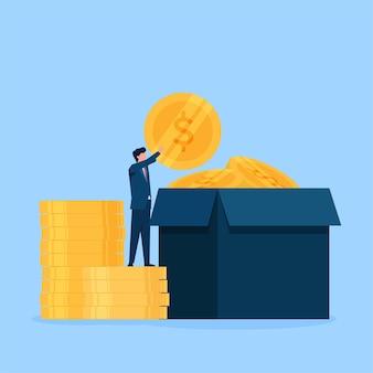 Biznesmen włożyć monetę do pudełka na darowiznę.