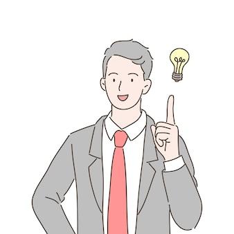 Biznesmen wskazując na żarówkę jako symbol posiadania pomysłu. ilustracja w stylu wyciągnąć rękę