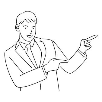 Biznesmen wskazuje palcami