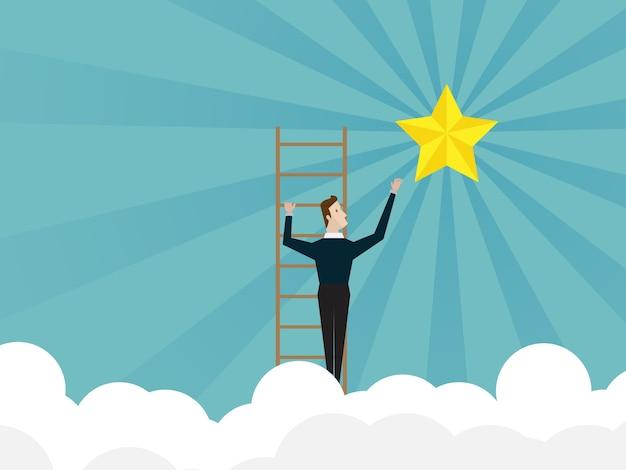 Biznesmen wspina się po drabinie i dociera do gwiazdy
