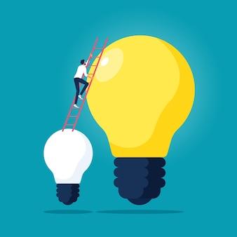 Biznesmen wspina się po drabinie od małej żarówki do wielkiego rozwiązania i kreatywnego pomysłu